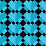 Un modello senza cuciture astratto geometrico di 3 D con due tonalità degli elementi simmetrici degli elementi blu su fondo nero  Immagini Stock