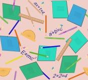Un modello senza cuciture con gli accessori della scuola Per carta da imballaggio, coperture Immagine Stock Libera da Diritti