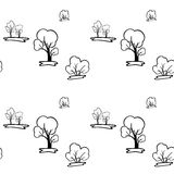 Un modello senza cuciture con gli alberi ed i cespugli Immagine Stock Libera da Diritti