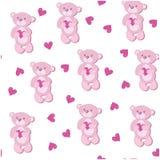 Un modello senza cuciture con l'orso rosa Fotografia Stock