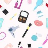 Un modello senza cuciture dei cosmetici Fotografia Stock Libera da Diritti