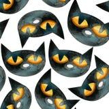 Un modello senza cuciture dell'acquerello che consiste delle teste dei gatti neri royalty illustrazione gratis