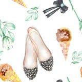 Un modello senza cuciture dell'acquerello con gli elementi romantici delle donne: gelato, scarpe di balletto rosa del fiore, dell Immagine Stock Libera da Diritti