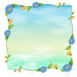 Un modello vuoto blu con i fiori royalty illustrazione gratis