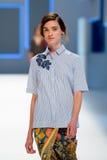 Un modelo camina la pista para la colección de Lebor Gabala en la semana 2015 de la moda de 080 Barcelona Imagen de archivo libre de regalías