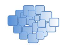 Un modelo de cajas coloreadas azul Imágenes de archivo libres de regalías