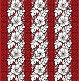 Rojo y blanco hawaianos del estampado de flores Imagen de archivo libre de regalías