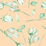 Un modelo inconsútil con las rosas verdes de la oferta de la acuarela en un fondo cremoso rosado ilustración del vector