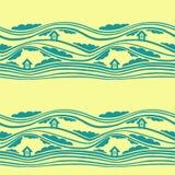 Un modelo inconsútil del vector con las nubes, las curvas, y las casas Fotografía de archivo