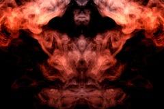 Un modelo místico del humo coloreado de rojo y de blanco en la forma de la cara de un fantasma con los colmillos que crean una se ilustración del vector