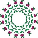 Un modelo simple circular de manzanas y de hojas Fotografía de archivo