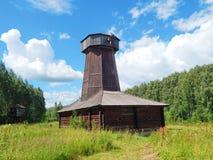 Un molino de madera antiguo en el sloboda de Kostromskaya de la museo-reserva Imagen de archivo