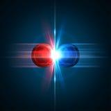 Un momento congelato di una collisione di due particelle Fotografie Stock