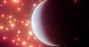 Un monde bleu habitable parmi le rouge orange lumineux se tient le premier rôle avec son côté en noir très évident illustration stock