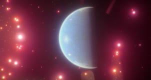 Un mondo blu abitabile fra le stelle rosa-rosso luminose Fotografia Stock