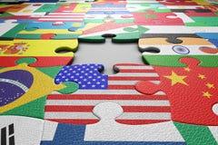 Il mondo inbandiera il puzzle Immagini Stock Libere da Diritti