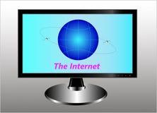 Un monitor con un globo simbólico, dos satélites de comunicación en la órbita geoestacionaria y Internet de la inscripción stock de ilustración