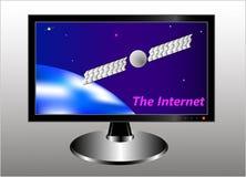 Un monitor con una imagen simbólica de la tierra, de un satélite de comunicación en la órbita geoestacionaria, de un cielo estrel libre illustration