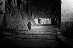 Un monje budista que camina abajo de los pasos del monasterio S de Tashilompu Foto de archivo libre de regalías