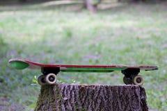Un monopatín se coloca en un tocón de madera en el bosque Imágenes de archivo libres de regalías
