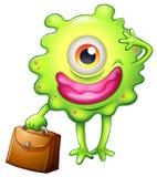 Un monstre vert avec un sac de bureau Photos libres de droits
