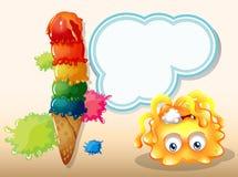 Un monstruo anaranjado envenenado cerca del helado grande Imagen de archivo libre de regalías