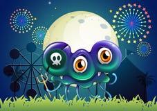 Un monstruo asustadizo con un cráneo en el carnaval Imagen de archivo