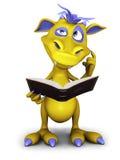 Monstruo lindo de la historieta que piensa en algo mientras que lee. Fotografía de archivo