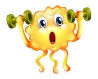 Un monstruo lindo que ejercita con pesas de gimnasia Imagen de archivo