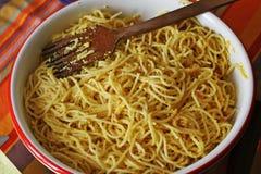 Un montón de buen espagueti italiano Imagen de archivo