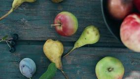 Un montón de frutas Manzanas y peras almacen de video
