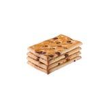 Un montón de las galletas de microprocesador de chocolate en un blanco Imagen de archivo