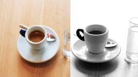 Un montaggio di due tazze di caffè espresso e del americano su fondo archivi video
