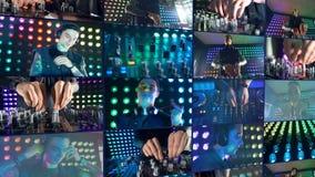 Un montaje del multiscreen de DJ en el trabajo en la fiesta de Navidad en el club de noche almacen de metraje de vídeo