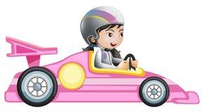 Un montar a caballo de la muchacha en un coche de competición rosado Imagenes de archivo