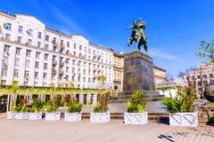 Un monument à Yuri Dolgoruky à Moscou images libres de droits