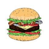 Un morceau d'hamburger délicieux, hamburger de style d'aspiration de main de regard de vintage illustration libre de droits