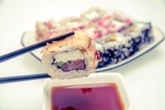 Un morceau de sushi Photographie stock
