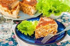 Un morceau de tarte mexicain de tortilla de poulet et de maïs Photos libres de droits