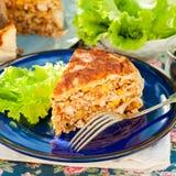 Un morceau de tarte mexicain de tortilla de poulet et de maïs photographie stock