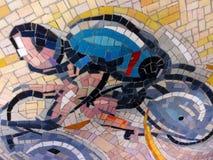Un mosaico urbano di un ciclista Immagine Stock Libera da Diritti