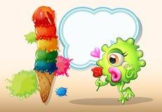 Un mostro che tiene una rosa mentre stando vicino al gelato gigante Fotografia Stock