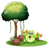 Un mostro grasso con il bilanciere che si esercita vicino all'albero Fotografia Stock
