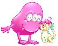 Un mostro rosa del beanie con un gatto Immagini Stock Libere da Diritti