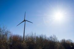 Un moulin à vent et le soleil de matin au-dessus d'une forêt en premier ressort Images stock