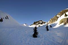 Un Mountain View della neve Fotografia Stock