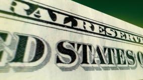 Un movimiento del billete de dólar 3D Imagen de archivo libre de regalías