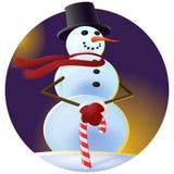 Un muñeco de nieve fresco en un sombrero negro Fotos de archivo