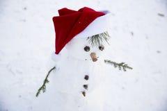 Un muñeco de nieve sonriente con distribuye de las ramitas del pino en el sombrero rojo de Foto de archivo