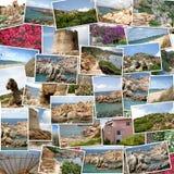 Un mucchio delle fotografie ha organizzato in una priorità bassa. immagine stock